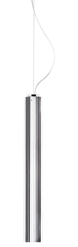 Leuchten - Pendelleuchten - Rifly Pendelleuchte / LED - H 60 cm - Kartell - Chrom-glänzend - Polycarbonate métallisé plissé