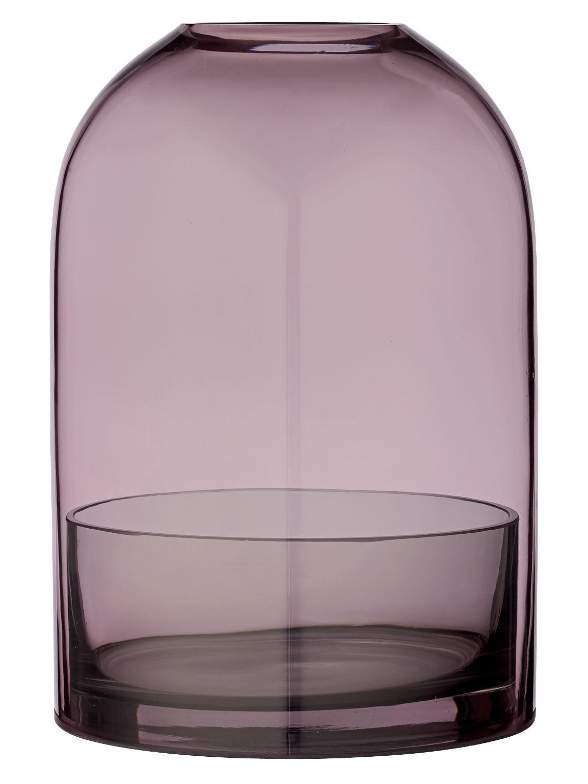 Déco - Bougeoirs, photophores - Photophore Tota Large / Verre - H 23 cm - AYTM - Rose / Coupelle gris fumé - Verre