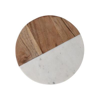 Arts de la table - Plats - Planche à découper Gya / Ø 25,5 cm - Bois & marbre - Bloomingville - Ø 25,5 cm / Blanc & bois - Bois d'acacia, Marbre