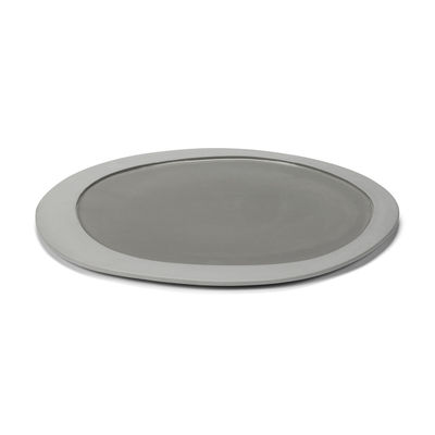 Tableware - Plates - Inner Circle Plate - / Large - 33 x 30 cm / Sandstone by valerie objects - Light grey - Sandstone