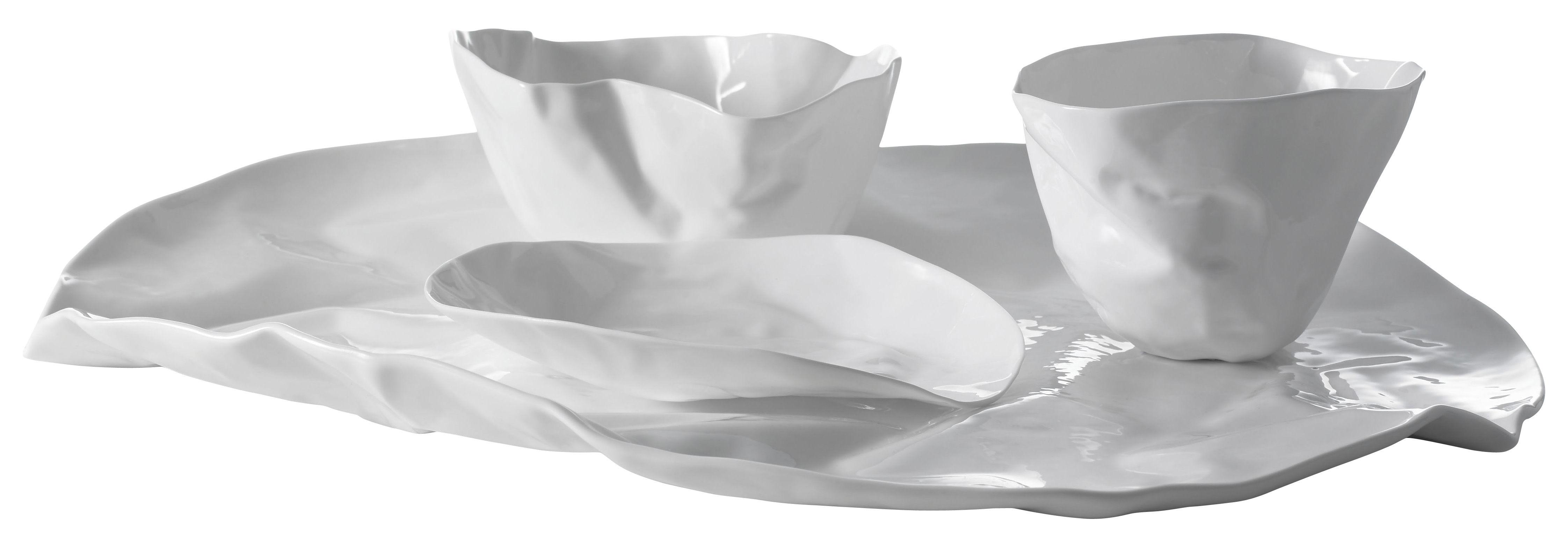 Arts de la table - Assiettes - Set vaisselle Adelaïde X / 1 plat + 2 bols + 1 coupelle - Driade Kosmo - Blanc - Porcelaine Bone China