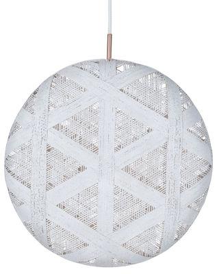 Illuminazione - Lampadari - Sospensione Chanpen Hexagon - / Ø 52 cm di Forestier - Bianco / Motivo triangolo - Tessuto in abaca