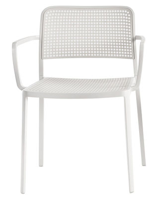 Furniture - Chairs - Audrey Stackable armchair - Lacquered structure by Kartell - White structure / white - Lacquered aluminium, Polypropylene