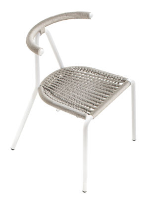 Furniture - Chairs - Toro Outdoor Stacking chair by B-LINE - Light grey/ White structure - Painted galvanized steel, Plastic rope