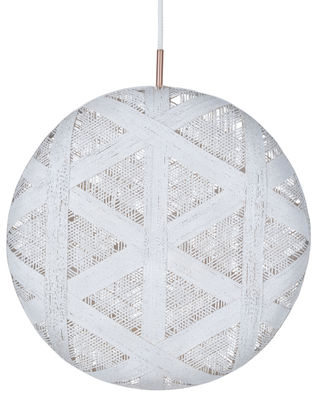 Luminaire - Suspensions - Suspension Chanpen Hexagon / Ø 52 cm - Forestier - Blanc / Motifs triangles - Abaca tissé