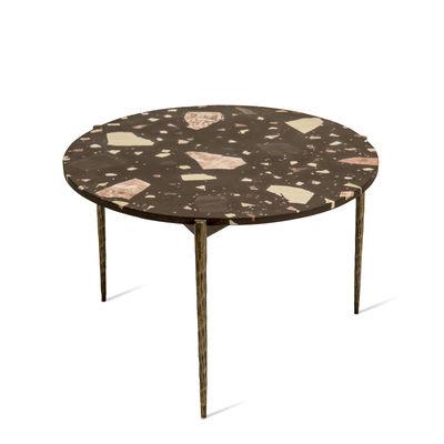 Mobilier - Tables basses - Table basse Nougat / Ø 71 x H 40 cm - Terrazzo - Pols Potten - Marron - Fer plaqué nickel patiné, Terrazzo