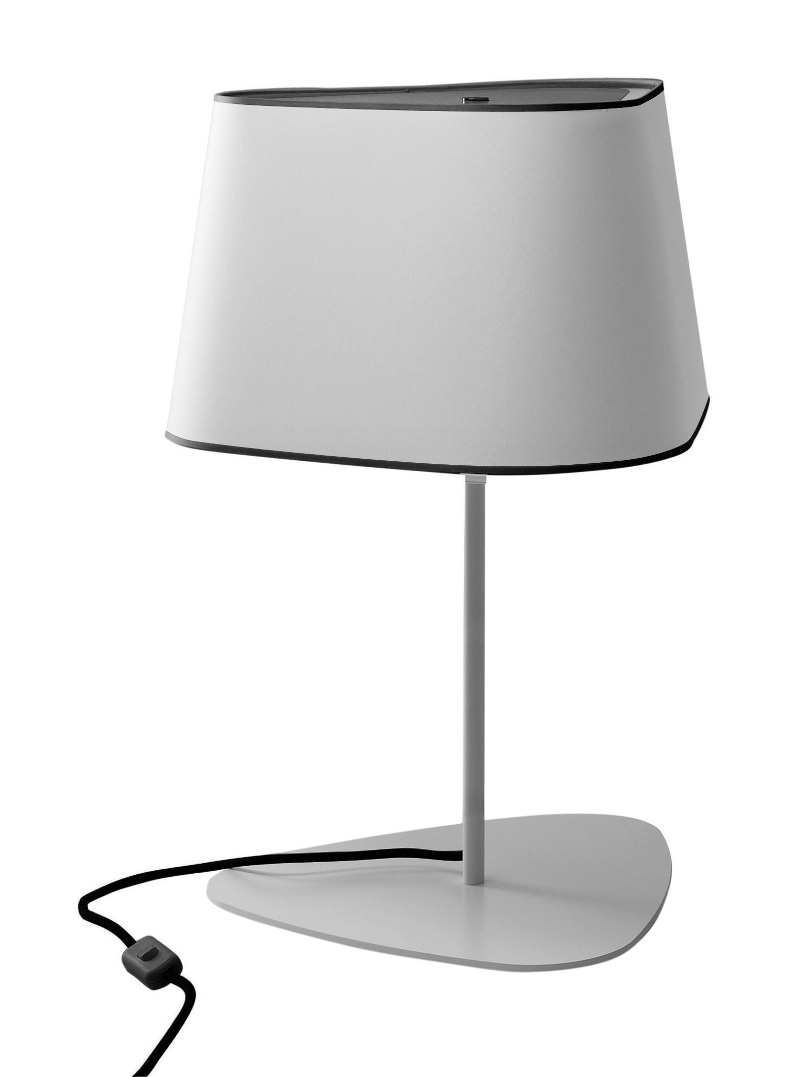 Lighting - Table Lamps - Petit Nuage Table lamp by Designheure - White fabric diffusing / Black border - Black cord - Fabric, Lacquered steel, Polycarbonate
