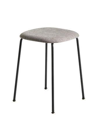 Mobilier - Tabourets bas - Tabouret Soft Edge 70 / Tissu - Hay - Tissu gris / Pied noir - Acier laqué, Contreplaqué, Tissu Kvadrat