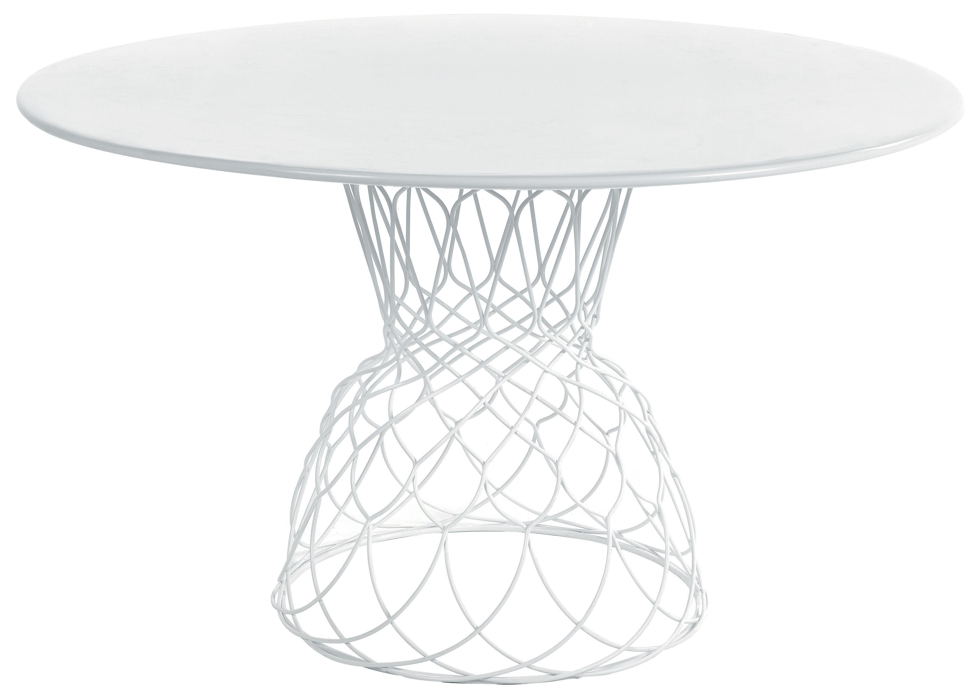 Outdoor - Tavoli  - Tavolo rotondo Re-trouvé - Ø 130 cm di Emu - Bianco - Acciaio