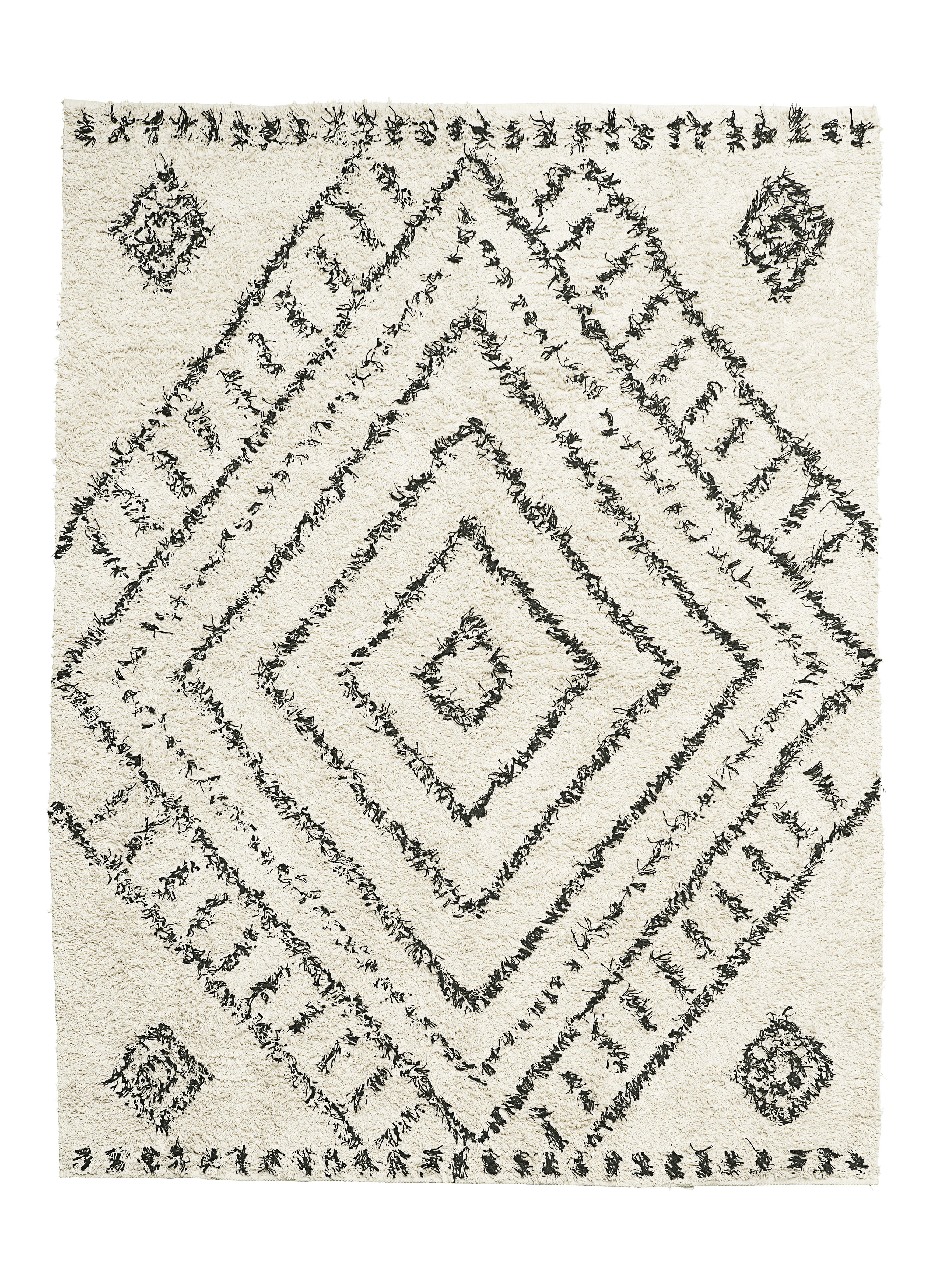 Dekoration - Teppiche - Nubia Teppich / 160 x 210 cm - House Doctor - Weiß / Muster schwarz - Baumwolle