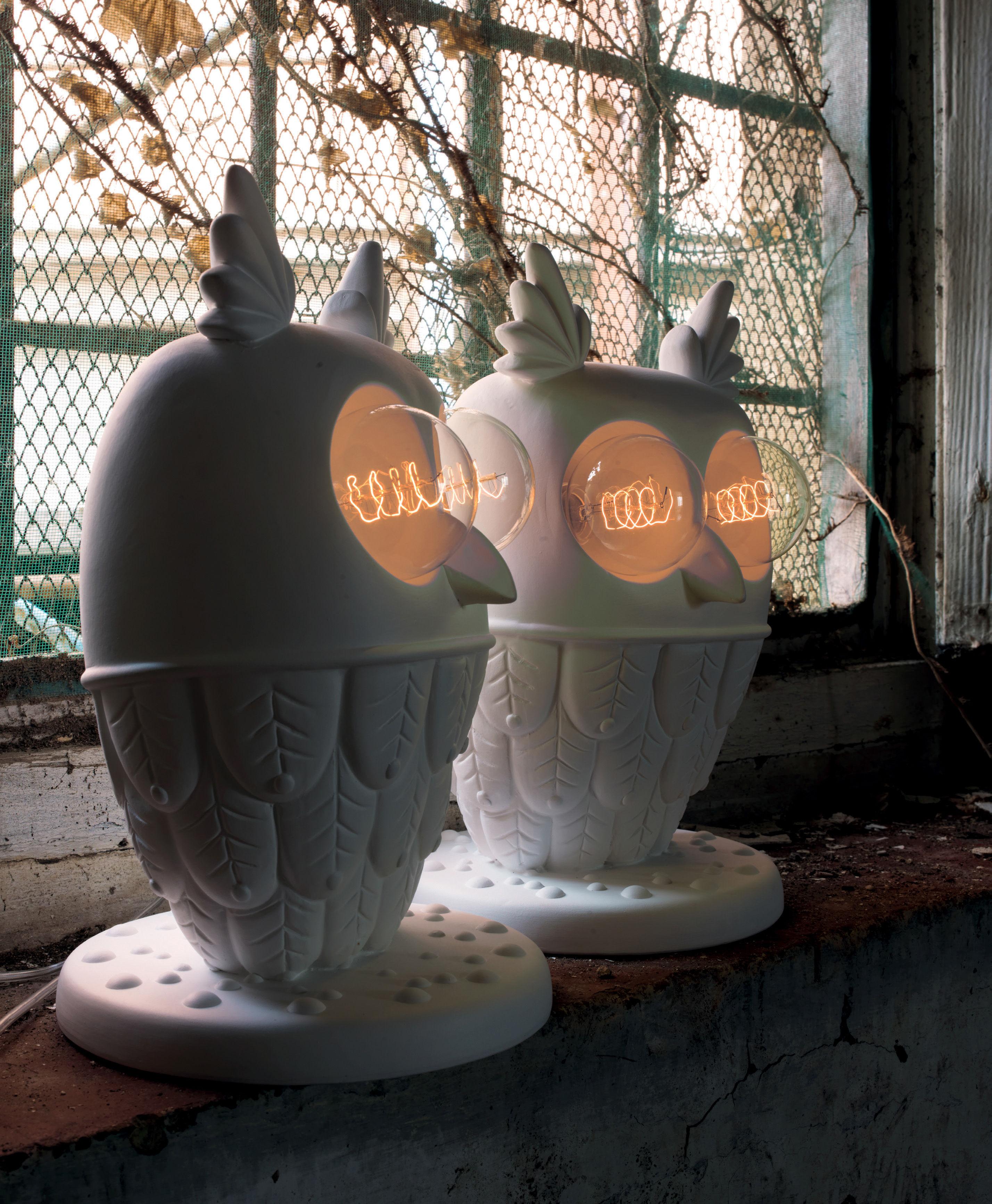 Ti vedo tischleuchte keramik eule h 41 cm wei by karman made in design - Keramik tischleuchte ...