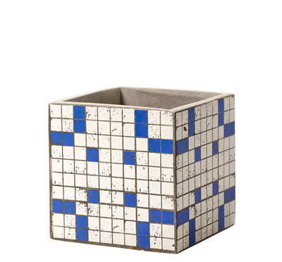 Outdoor - Töpfe und Pflanzen - Marie Mosaïque Topf / 15 x 15 cm - emaillierter Beton - Serax - Blau / weiß - Emaillierter Beton