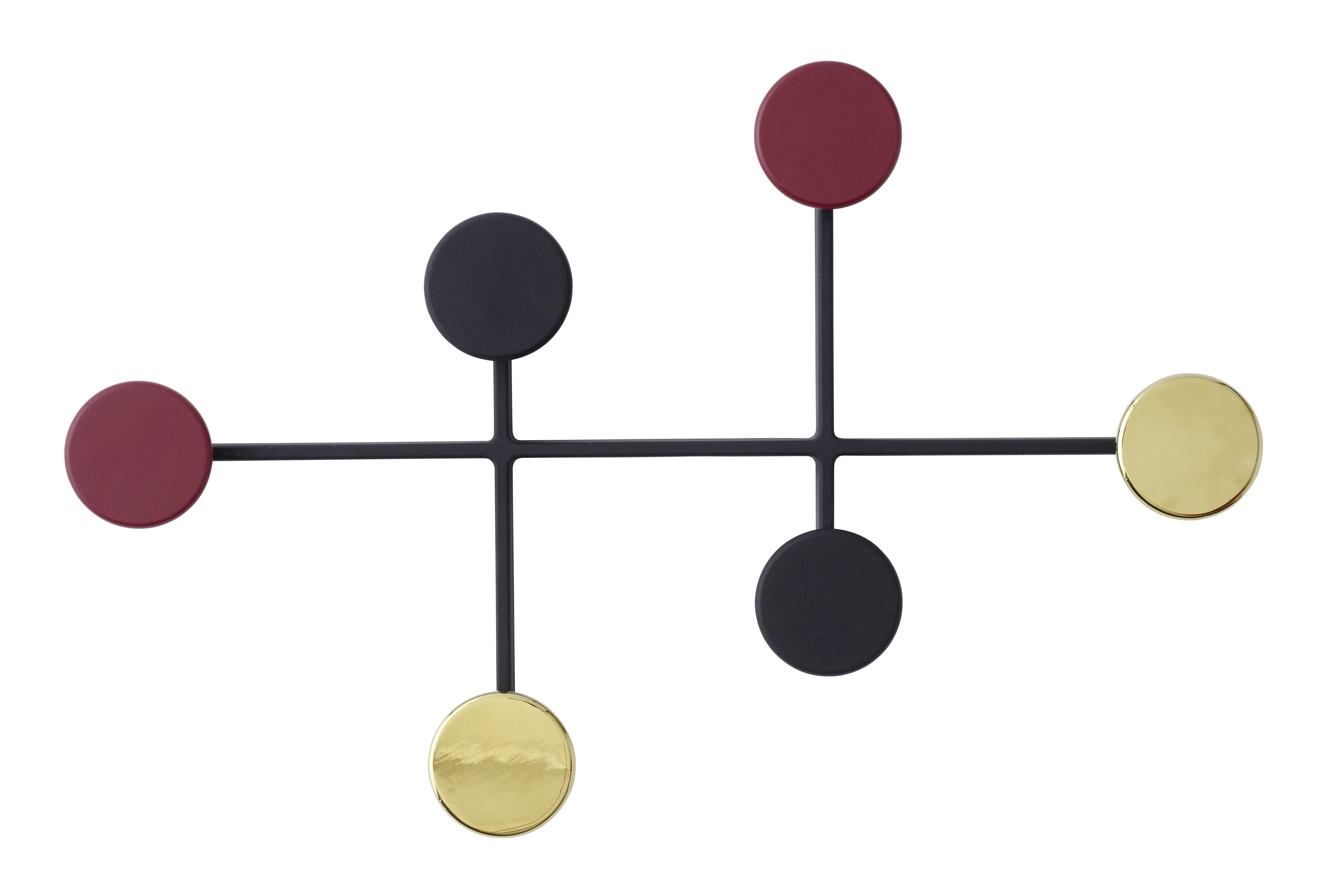 Decoration - Coat Stands & Hooks - Afteroom Wall coat rack by Menu - Black / Brass / Red - Powder steel, Zinc alloy