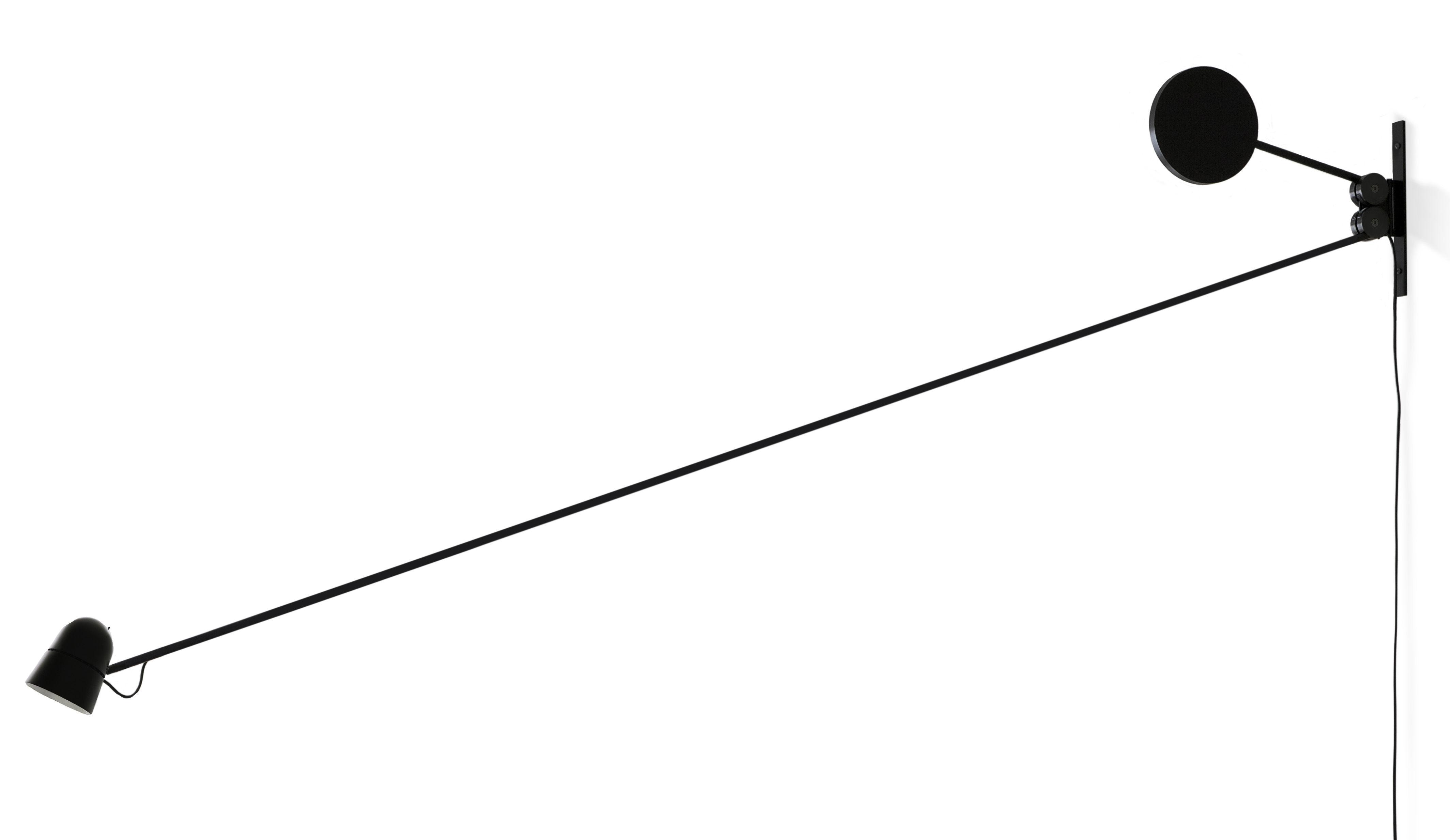 Leuchten - Wandleuchten - Counterbalance Wandleuchte mit Stromkabel LED / L 191 cm - Luceplan - Schwarz - Aluminium, Stahl