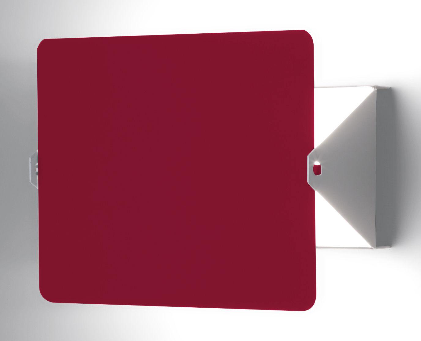 Leuchten - Wandleuchten - Wandleuchte mit Stromkabel mit Drehblende, E14 / von Charlotte Perriand - Neuauflage des Modells von 1962 - Nemo - Weiß / Drehblende rot - bemaltes Aluminium, bemaltes Metall