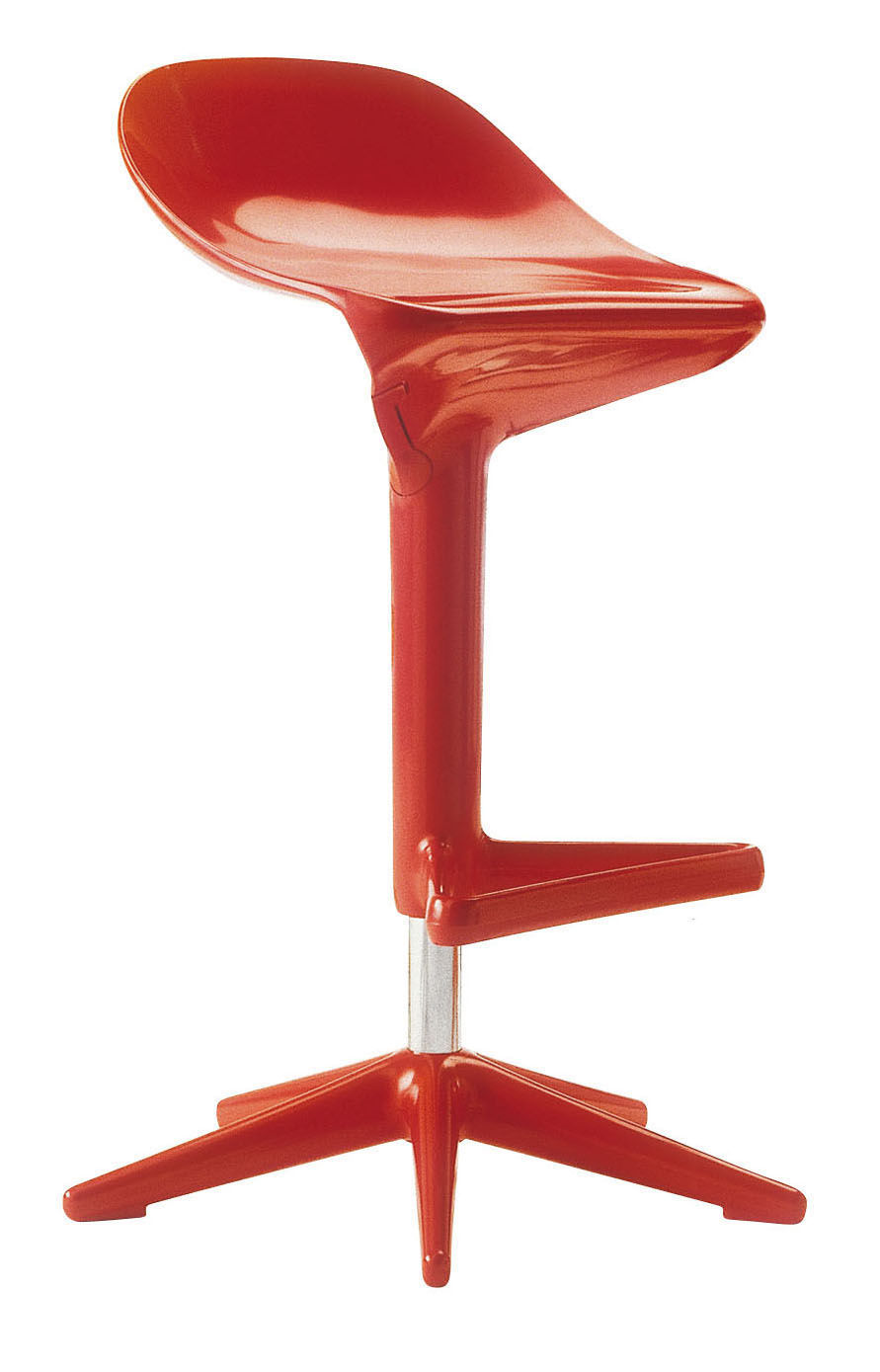 Furniture - Bar Stools - Spoon Adjustable bar stool - Pivoting - Plastic by Kartell - Red - Polypropylene