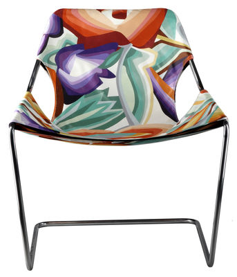 Furniture - Exceptional furniture - Paulistano Missoni Armchair - Adjustable backrest by Objekto - Multicoloured - Cotton, Stainless steel