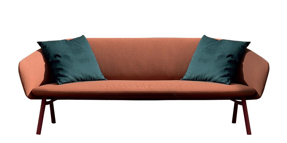 Mobilier - Canapés - Canapé 3 places ou + Tuile / Pour extérieur - L 220 cm - Kristalia - Orange & terracotta - Acier laqué, Polyuréthane, Toile Sunbrella