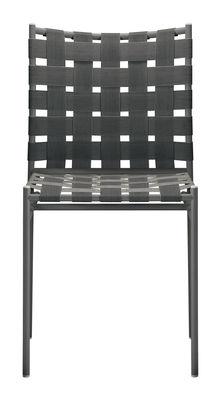 Mobilier - Chaises, fauteuils de salle à manger - Chaise empilable Tagliatelle / Assise élastique - Alias - Gris foncé - Acier laqué, Textile