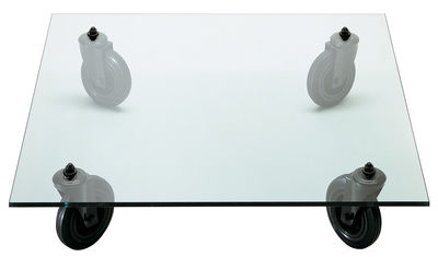 Furniture - Coffee Tables - Gae Aulenti Coffee table by Fontana Arte - 100 x 100 cm - Glass, Rubber, Varnished metal
