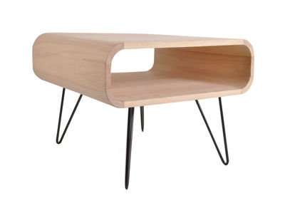 Furniture - Coffee Tables - Metro Square Medium Coffee table - / L 60 X H 46 cm by XL Boom - Natural wood / Black base - Painted metal, Rubber tree wood