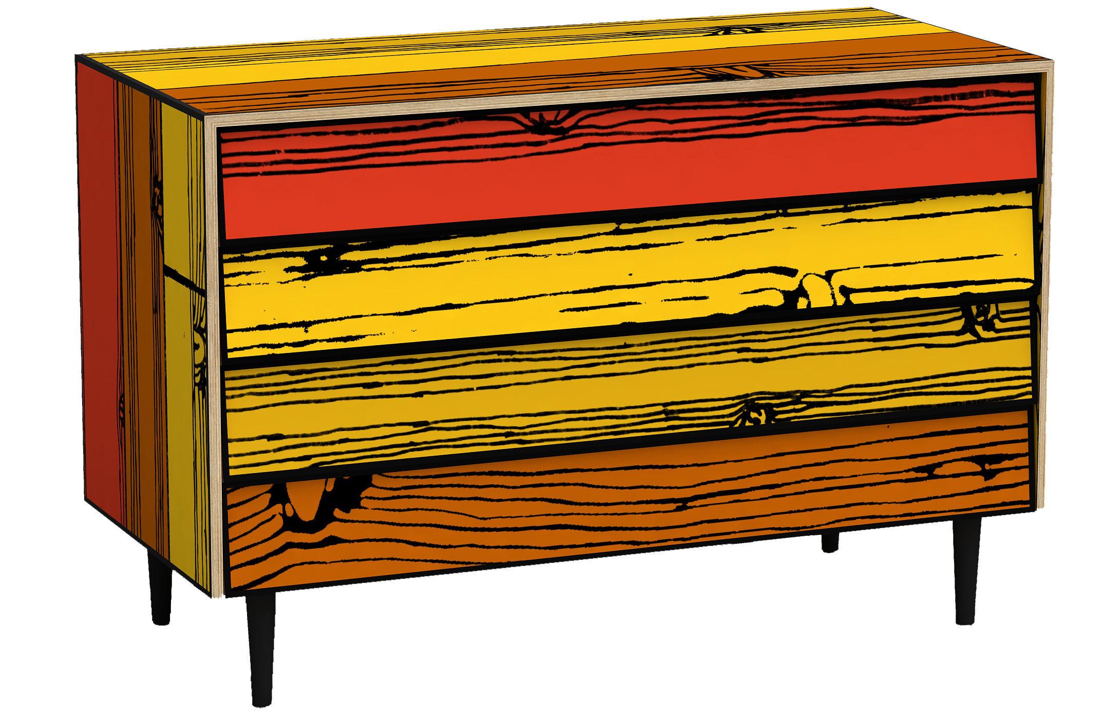 Arredamento - Mobili d'eccezione - Comò Wrongwoods di Established & Sons - Toni rossi - Compensato tinto