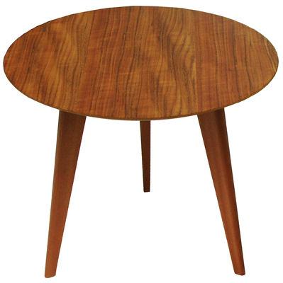 Möbel - Couchtische - Lalinde Ronde Couchtisch rund - groß, Ø 55 cm / Tischbeine aus Holz - Sentou Edition - Teak / Tischbeine Holz - massive Eiche, MDF plaqué teck