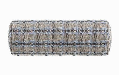 Image of Cuscino Garden Layers - / Cilindrico small - Tessuto a mano di Gan - Blu/Grigio - Tessuto