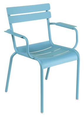 Life Style - Fauteuil empilable Luxembourg / Aluminium - Fermob - Turquoise - Aluminium laqué