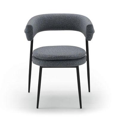 Mobilier - Chaises, fauteuils de salle à manger - Fauteuil rembourré Nena / Tissu - Zanotta - Gris-bleu - Acier verni, Mousse polyuréthane, Tissu