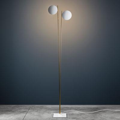 Illuminazione - Lampade da terra - Lampada a stelo Lederam F2 - / LED - H 198 cm di Catellani & Smith - Dischi bianchi / Stelo oro / Base bianca - alluminio verniciato, Metallo dorato