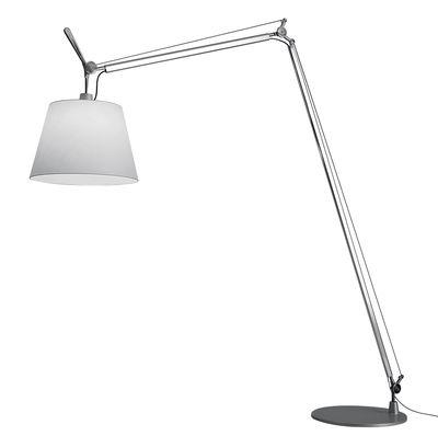 Illuminazione - Lampade da terra - Lampada a stelo Tolomeo Maxi - / Ø 52 cm - H 250 a 406 cm di Artemide - Bianco / Piede alluminio - Acciaio, Alluminio, Tessuto