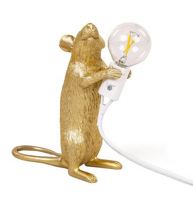 Interni - Per bambini - Lampada da tavolo Mouse Standing #1 - / Topo in piedi di Seletti - Topo in piedi / Dorato - Resina