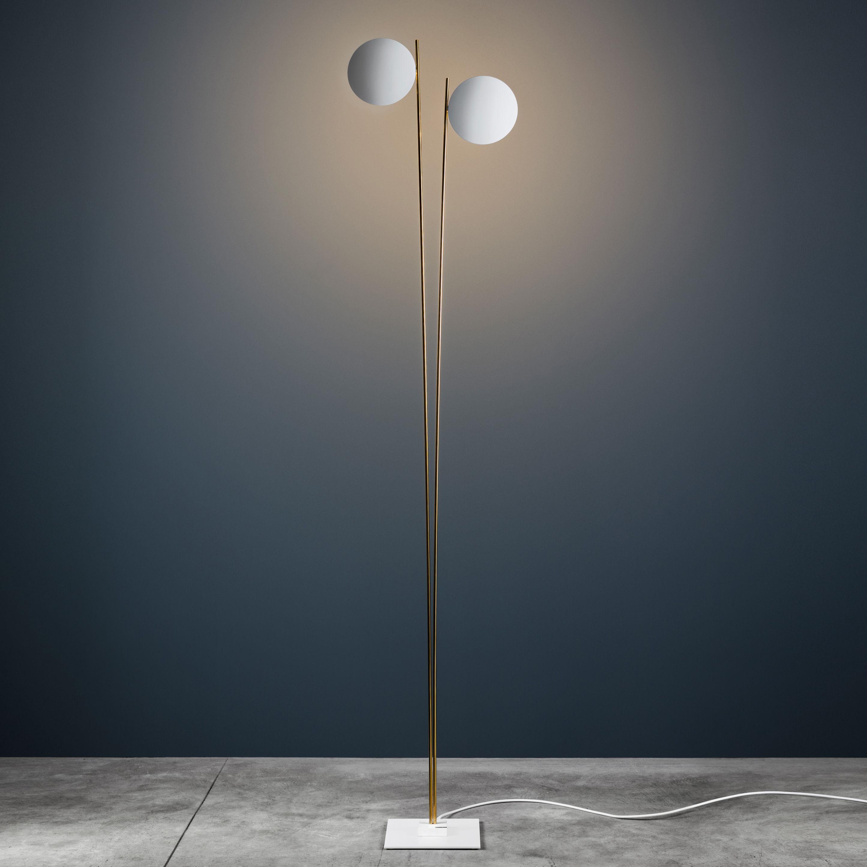 Luminaire - Lampadaires - Lampadaire Lederam F2 / LED - H 198 cm - Catellani & Smith - Disques blancs / Tige or / Base blanche - Aluminium peint, Métal doré