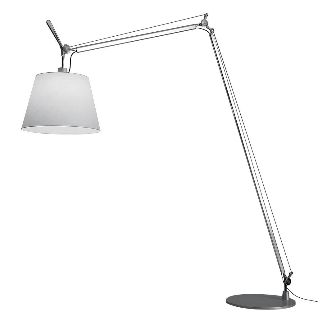 Luminaire - Lampadaires - Lampadaire Tolomeo Maxi / Ø 52 cm - H 250 à 406 cm - Artemide - Blanc / Pied alu - Acier, Aluminium, Tissu