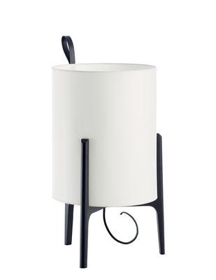 Luminaire - Lampes de table - Lampe de table Greta / Ø 33 x H 58 cm - Carpyen - Blanc / Structure noire - Chêne massif teinté, Coton