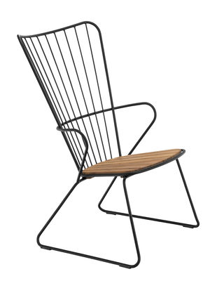 Paon Lounge Sessel / Metall & Bambus - Houe - Schwarz,Bambus Natur