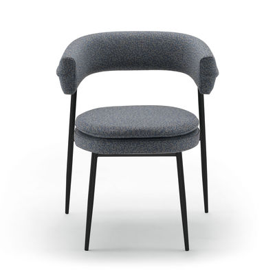 Furniture - Chairs - Nena Padded armchair - / Fabric by Zanotta - Blue-grey - Fabric, Polyurethane foam, Varnished steel