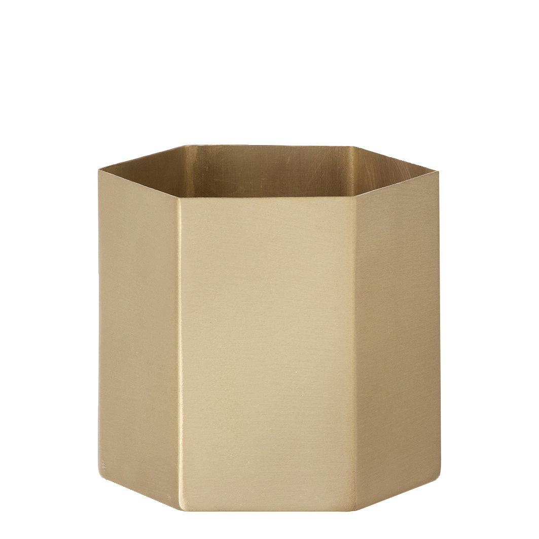 Accessories - Desk & Office Accessories - Hexagon Small Flowerpot by Ferm Living - Gold - Brass