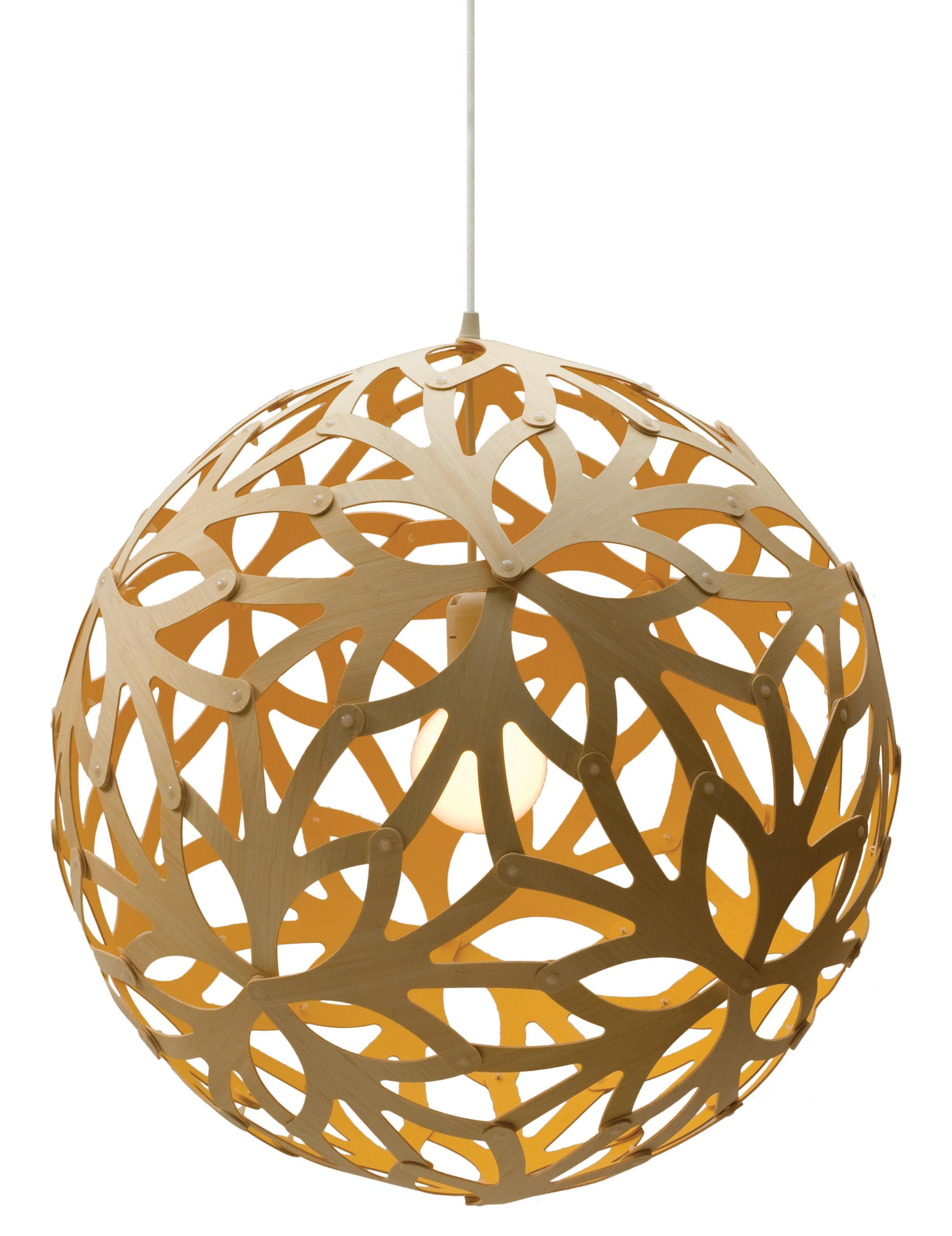 Lighting - Pendant Lighting - Floral Pendant - Ø 60 cm - Bicoloured by David Trubridge - Yellow / Natural wood - Pine