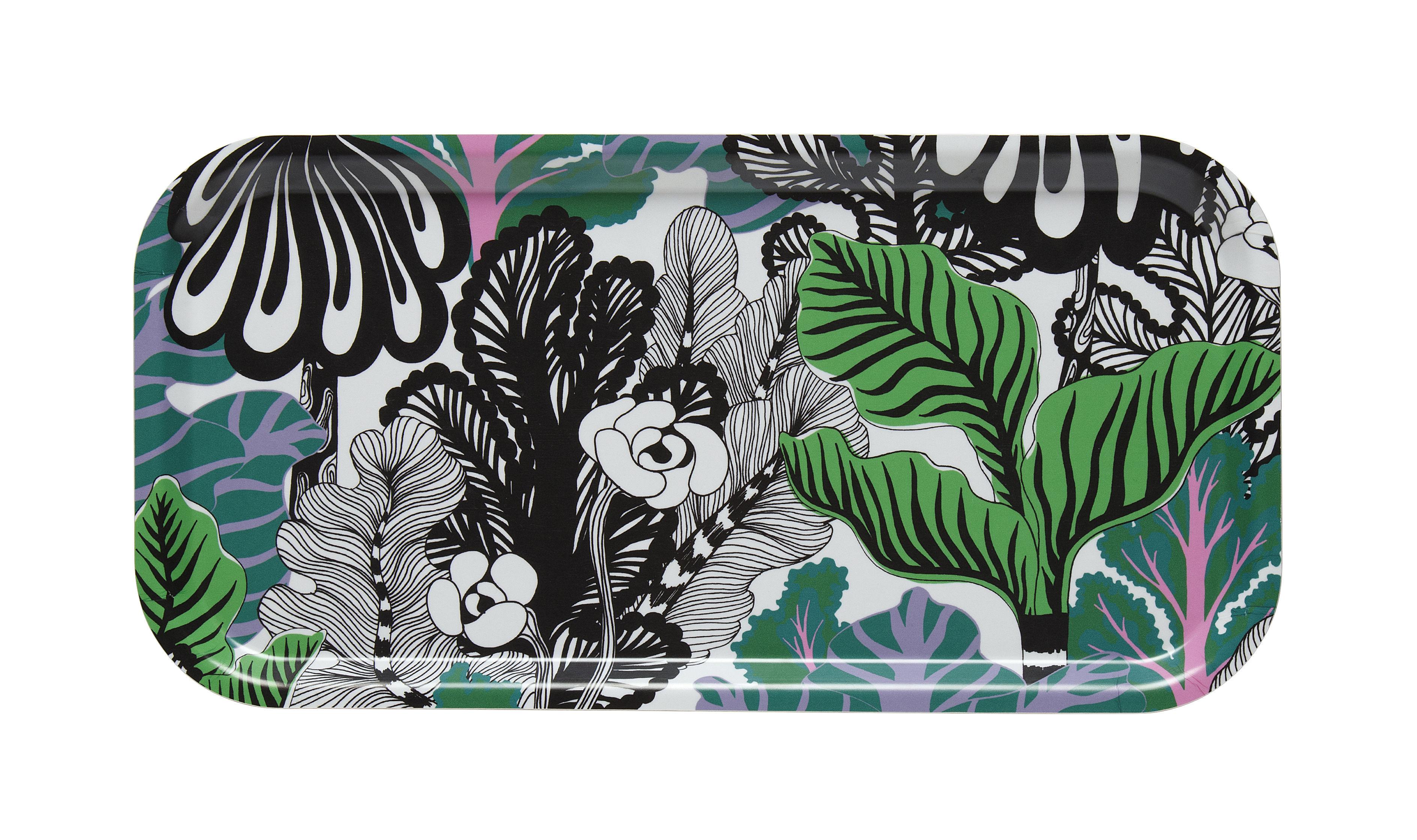 Tavola - Vassoi  - Piano/vassoio Kaalimetsä - / 43 x 22 cm di Marimekko - Kaalimetsä / Nero, verde - Laminato di betulla