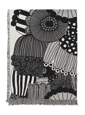 St-Valentin - Pour Elle - Plaid Siirtolapuutarha / 130 x 180 cm - Marimekko - Siirtolapuutarha / Gris & noir - Coton