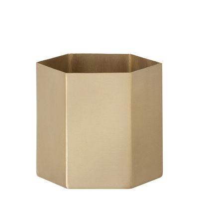 Accessori moda - Accessori ufficio - Portamatite Hexagon Small - / Small di Ferm Living - Small / Dorato - Ottone