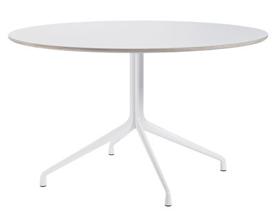 Furniture - Dining Tables - About a Table Round table - Ø 128 cm by Hay - White - Cast aluminium, Varnished linoleum