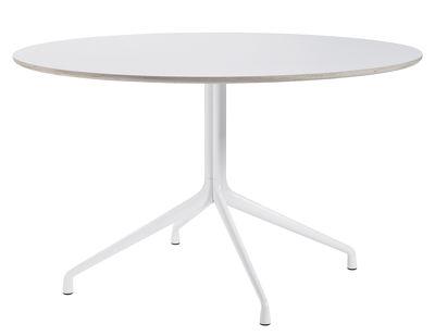 Möbel - Tische - About a Table Runder Tisch / Ø 128 cm - Hay - Weiß - gefirnistes Linoleum, Gussaluminium