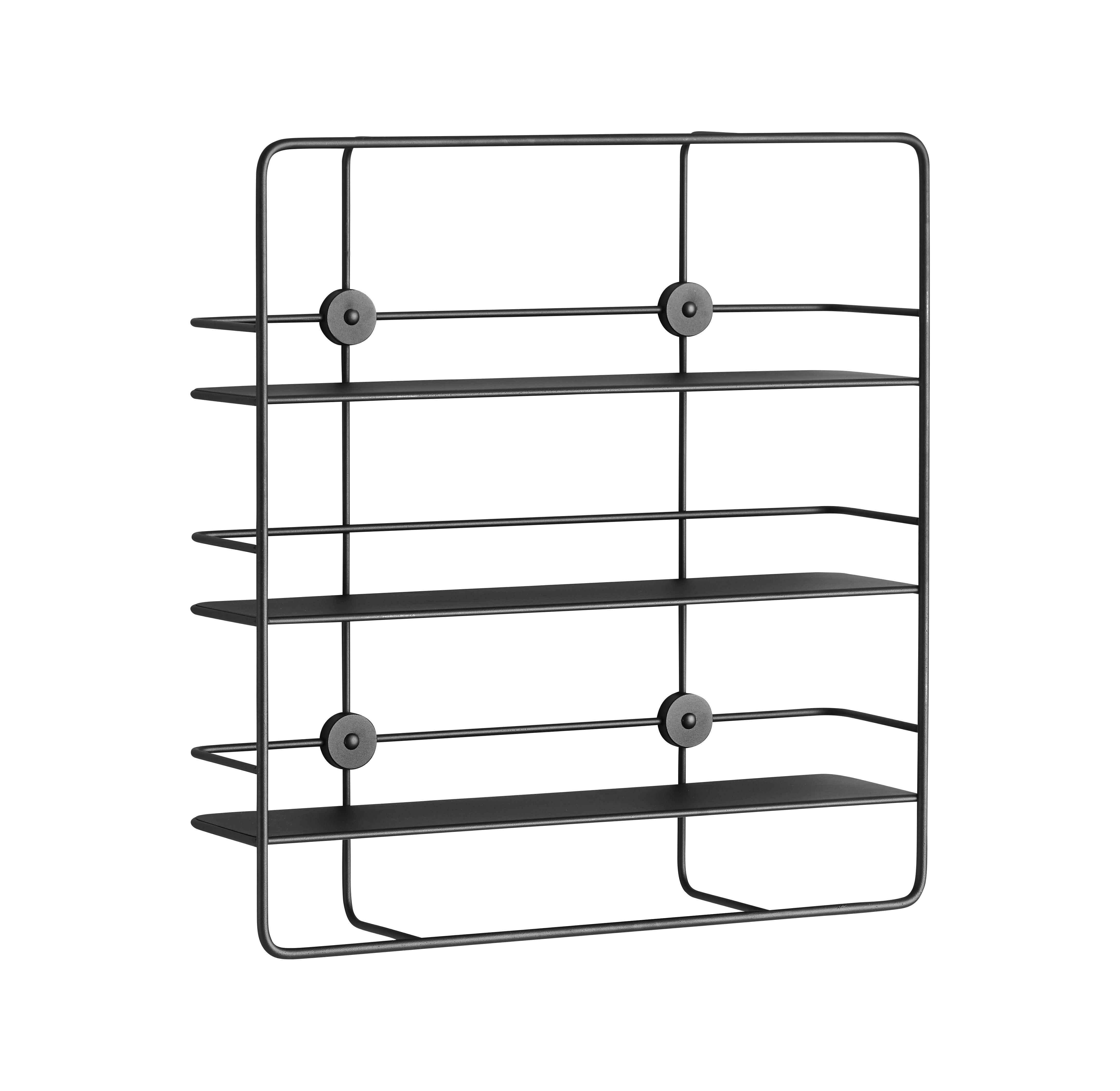 Arredamento - Scaffali e librerie - Mensola Coupé / Rettangolare - Metallo - L 53 x H 56 cm - Woud - Noir - Metallo rivestito in resina epossidica