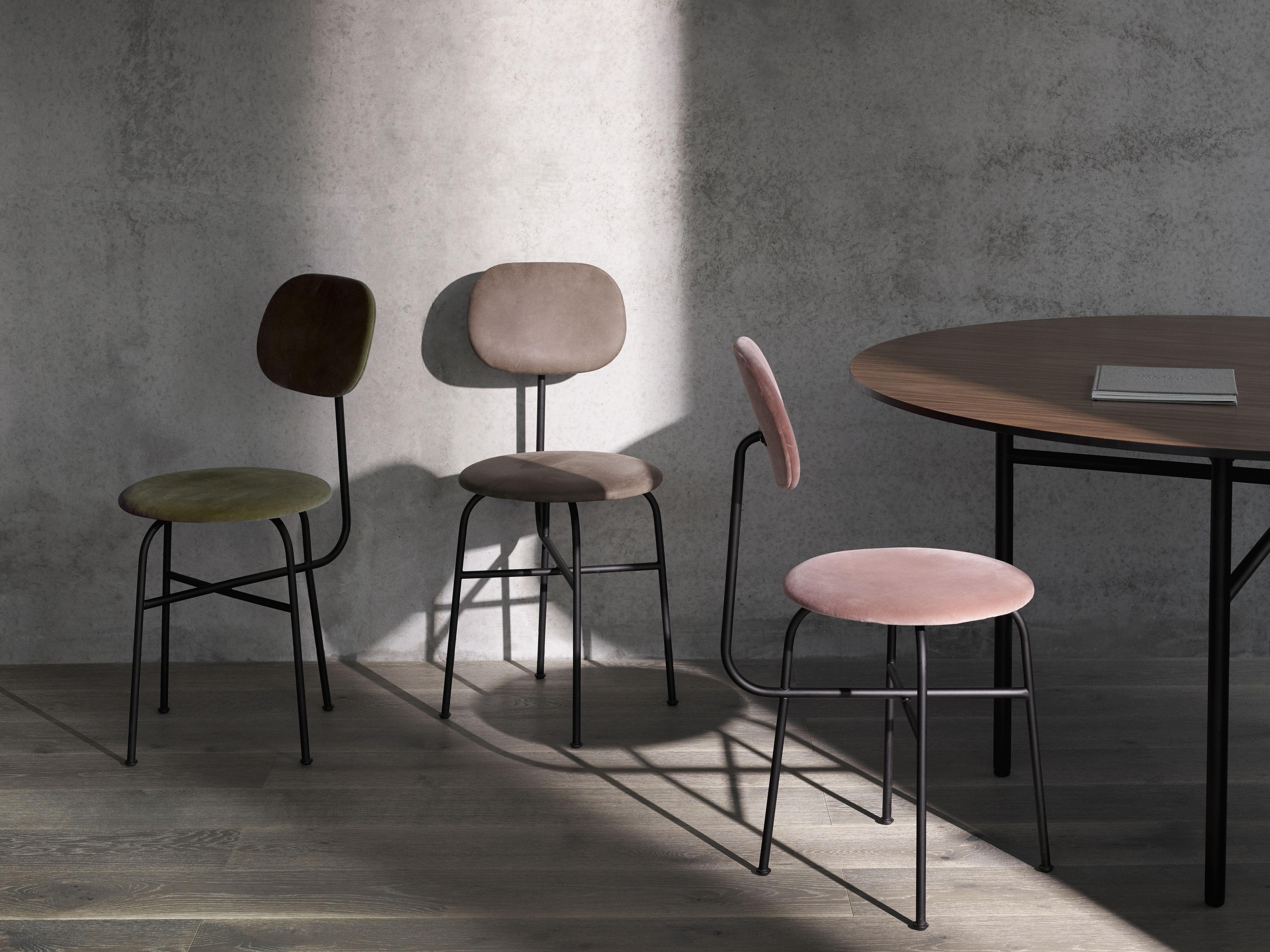 Sedia Imbottita Design : Afteroom sedia imbottita velluto velluto rosa nero by menu