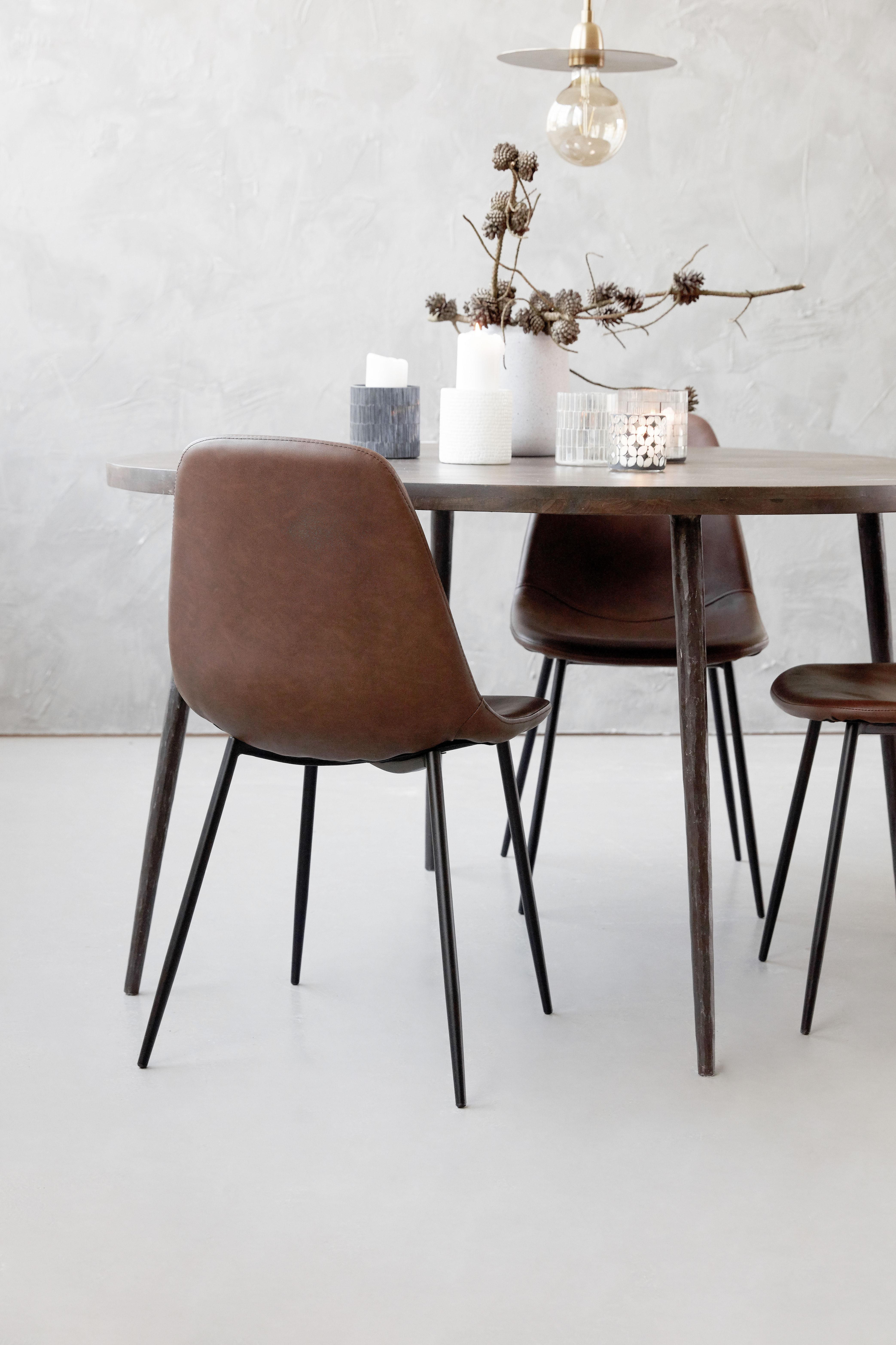 Forms sedia imbottita similpelle acciaio marrone by for Sedia design marrone