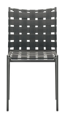 Furniture - Chairs - Tagliatelle Stacking chair - Elastic seat by Alias - Dark grey - Lacquered steel, Textile