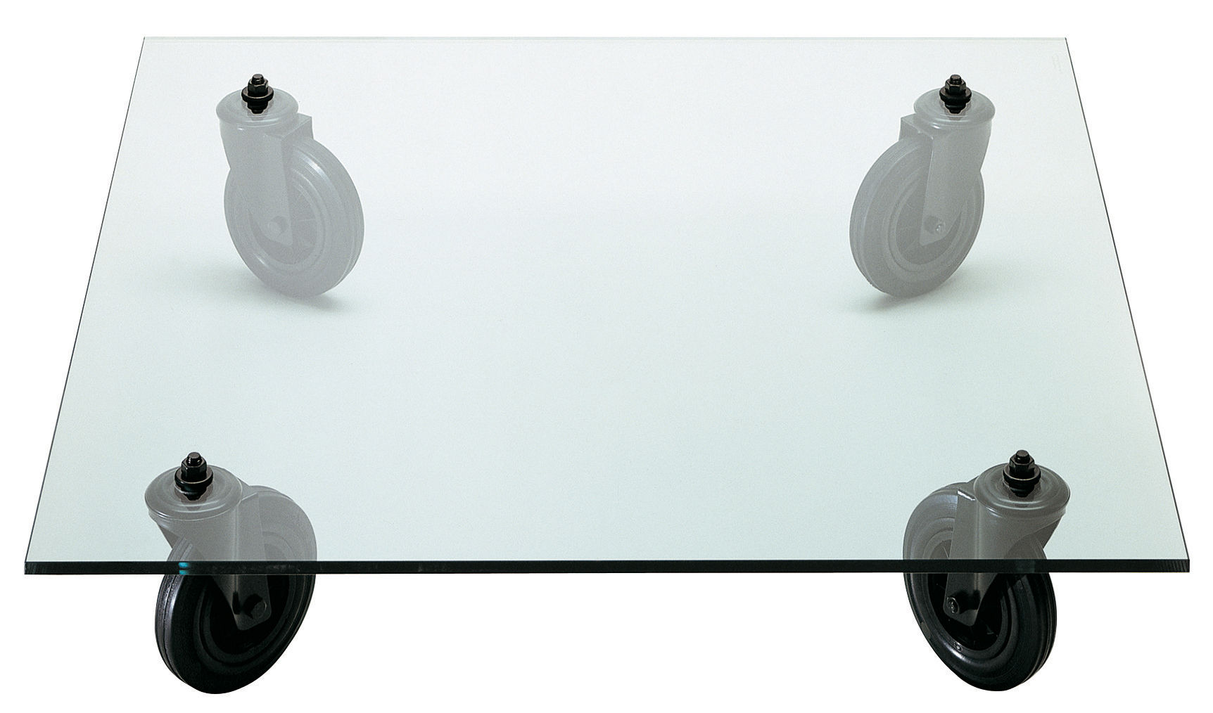 Mobilier - Tables basses - Table basse Gae Aulenti - Fontana Arte - 100 x 100 cm - Caoutchouc, Métal verni, Verre